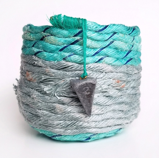 Gray and Aqua Basket, Ghost Net Baskets -  artwork by Emily Miller