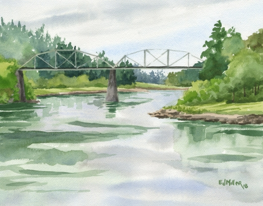 Lake Oswego Railway Bridge, Oregon, Portland -  artwork by Emily Miller