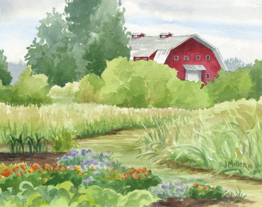 Red Barn at Luscher Farm, Oregon, Countryside -  artwork by Emily Miller