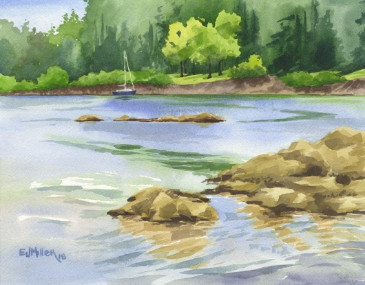 Willamette River Sail, Countryside -  artwork by Emily Miller