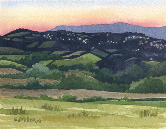 Dusk over Kingscourt from Meath Hill, Ireland & Europe - ireland artwork by Emily Miller