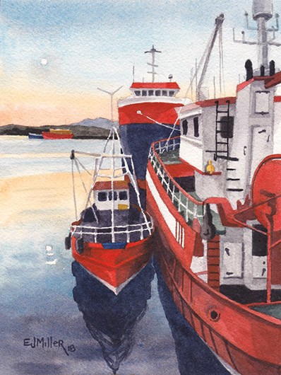 Sunset at Killybegs Harbour, Wild Atlantic Way Ireland watercolor painting