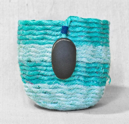 Medium Blue Stripe - Oregon Baskets, Ghost Net Baskets -  artwork by Emily Miller
