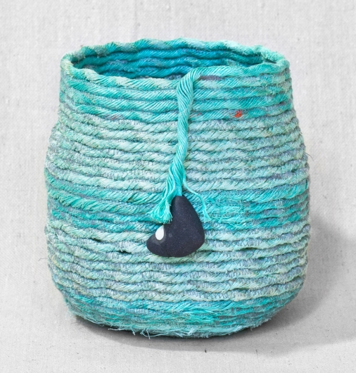 Large Blue Stripe - Oregon Baskets, Ghost Net Baskets -  artwork by Emily Miller
