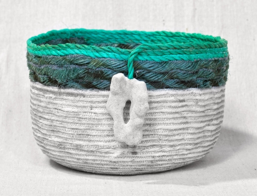 Extra Large Lava Rock Shores - Hawaii Baskets, Ghost Net Baskets -  artwork by Emily Miller