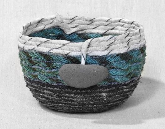 Medium Wide Lava Rock Shores - Hawaii Baskets, Ghost Net Baskets -  artwork by Emily Miller