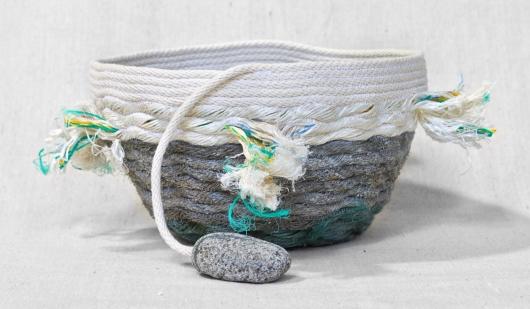 Large Tassel Lava Rock Shores - Hawaii Baskets, Ghost Net Baskets -  artwork by Emily Miller
