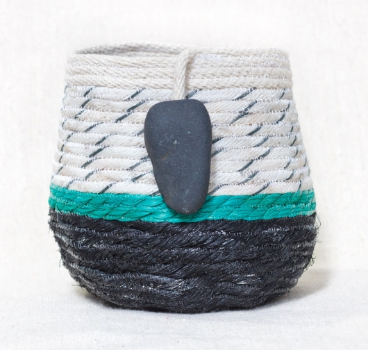 Medium Lava Rock Shores - Hawaii Baskets, Ghost Net Baskets -  artwork by Emily Miller