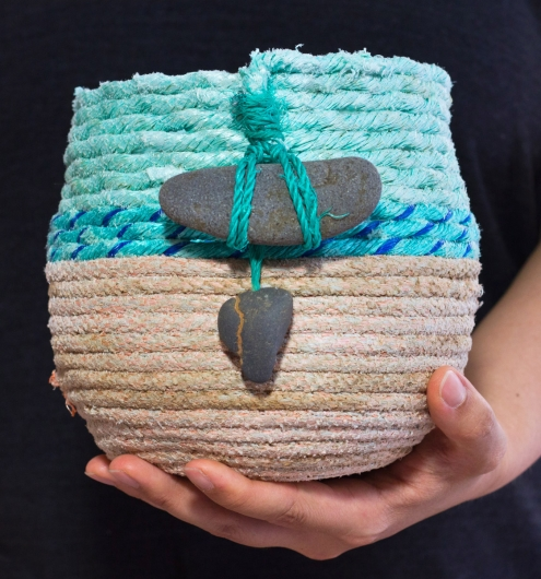 Double Stone - Oregon Basket, Ghost Net Baskets -  artwork by Emily Miller