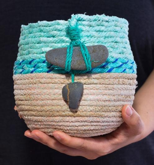 Earth Base Basket, Ghost Net Baskets -  artwork by Emily Miller