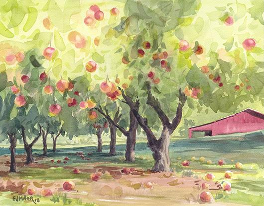 Last Harvest at Fairlight Apple Farm, Countryside -  artwork by Emily Miller