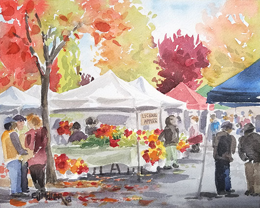 Licious Apples at Beaverton Farmers Market, Portland -  artwork by Emily Miller