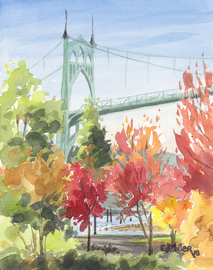 Autumn Color at St. John's Bridge, Portland - st john's bridge, portland oregon, portland bridges, autumn artwork by Emily Miller