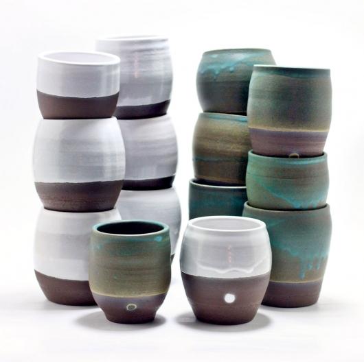 Dark Chocolate Cups (White Glaze, 12oz), $35.00