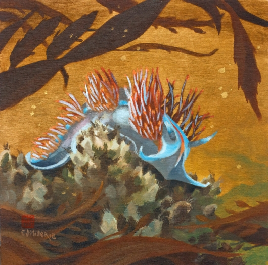 Nudibranch painting, tidepool painting by Emily Miller