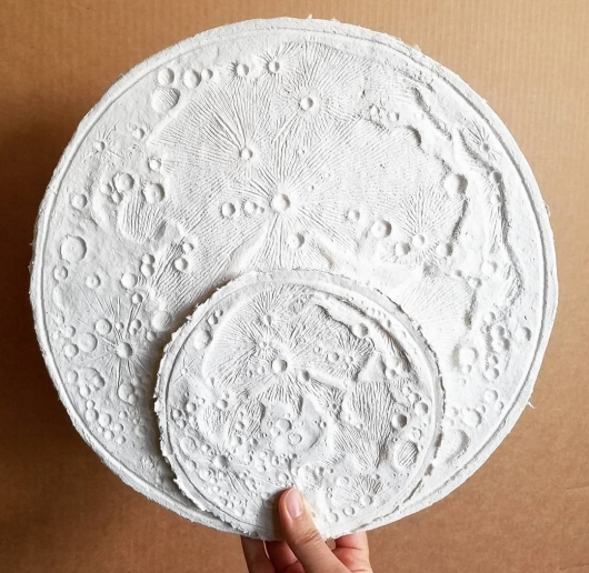 Medium and Small size Paper Moon, Moon Bowls - ode to the tides artwork by Emily Miller