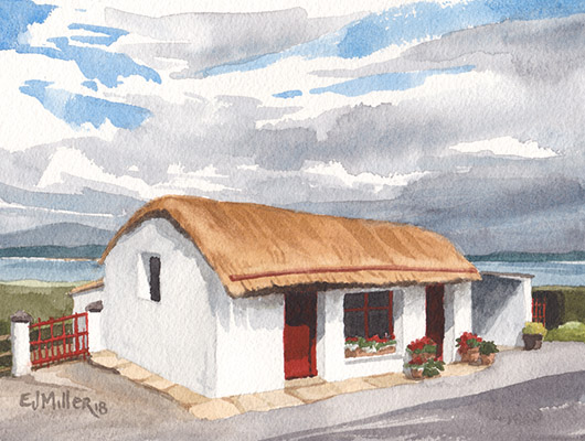 The Weaver's Cottage, Ireland & Europe -  artwork by Emily Miller