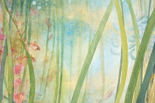 Detail of metallic gold in direct light Eelgrass Meadow, Oregon Coast -  artwork by Emily Miller