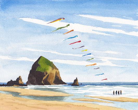 Wedding Day Kites at Cannon Beach