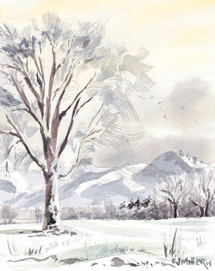 Morning Snowfall, Countryside -  artwork by Emily Miller