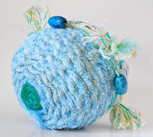 Sky Tassel Basket, Ghost Net Baskets -  artwork by Emily Miller