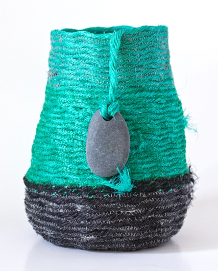 Deep Green Sea Basket, Ghost Net Baskets -  artwork by Emily Miller