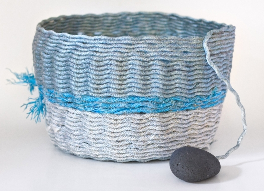 Silver Sea Basket, Ghost Net Baskets -  artwork by Emily Miller