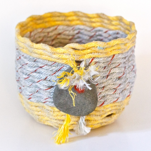 Sunshine Tassel Basket, Ghost Net Baskets -  artwork by Emily Miller