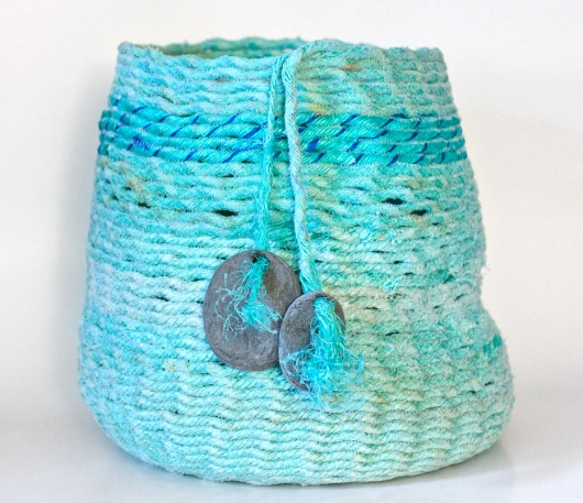 Aqua Double Stone Basket, Ghost Net Baskets -  artwork by Emily Miller