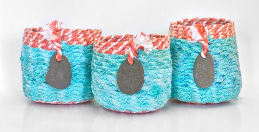 Turquoise Coral Basket, Ghost Net Baskets -  artwork by Emily Miller