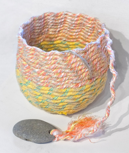 Peaches Basket, Ghost Net Baskets -  artwork by Emily Miller