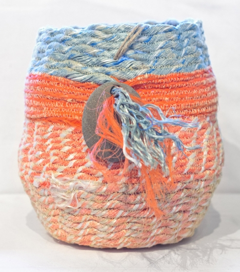 Salmon Basket, Ghost Net Baskets -  artwork by Emily Miller