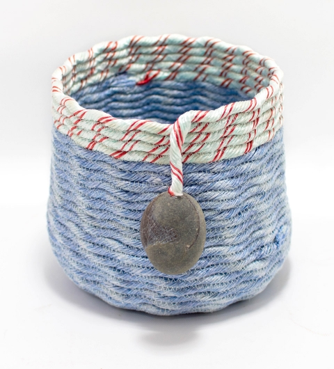 Candy Stripe Lavender Basket, Ghost Net Baskets -  artwork by Emily Miller