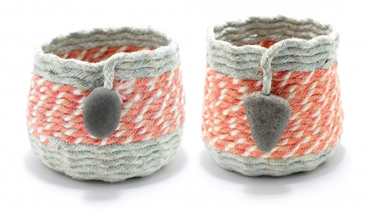 Orange and Gray Baskets, Ghost Net Baskets -  artwork by Emily Miller