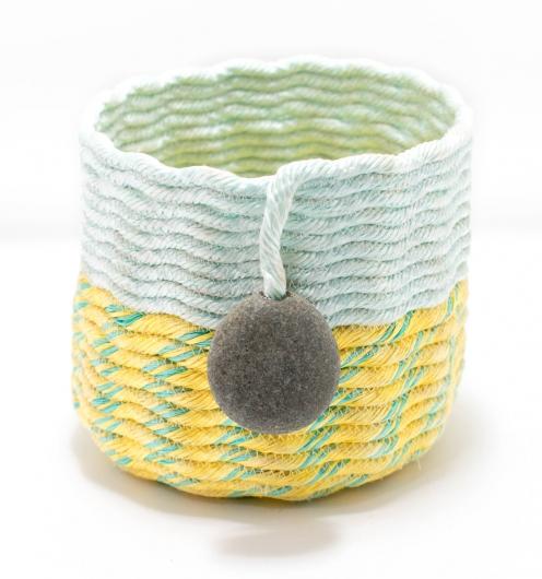 Bright Sea Basket, Ghost Net Baskets -  artwork by Emily Miller