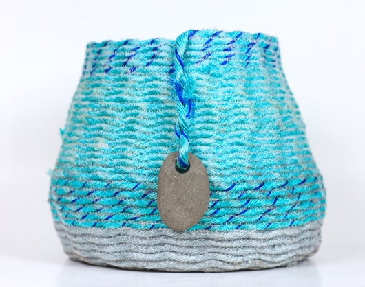 Aqua overstitch XL basket, Ghost Net Baskets -  artwork by Emily Miller