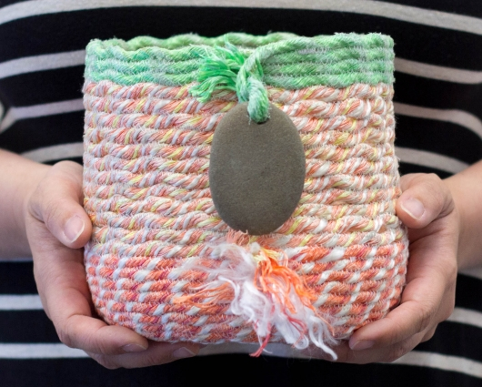 Lime + Coral Basket, Ghost Net Baskets -  artwork by Emily Miller