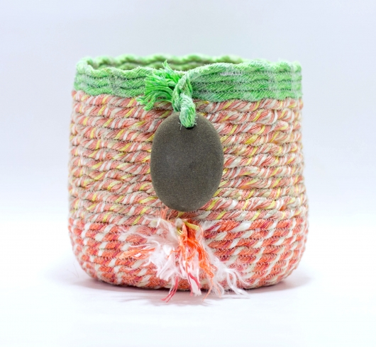 Lime + Coral Basket, 2019