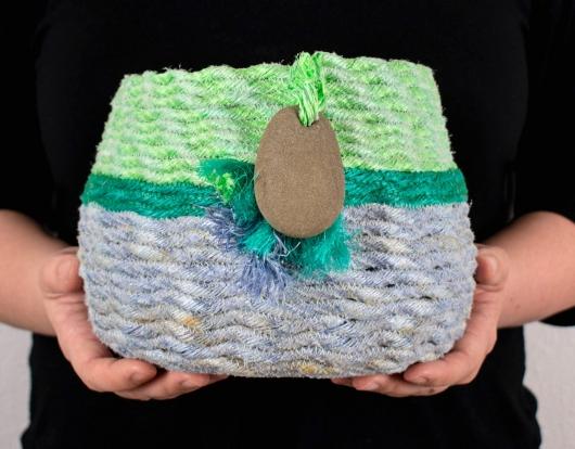 Purple + Green Basket, Ghost Net Baskets -  artwork by Emily Miller