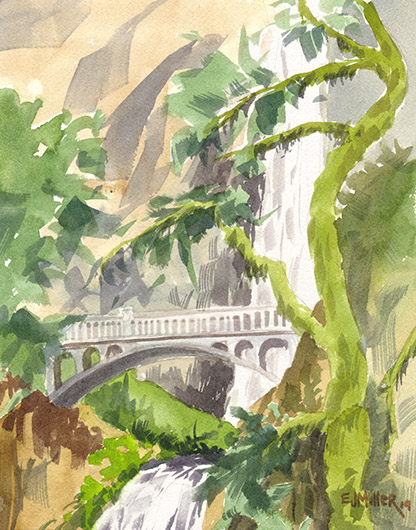 Bridge over Multnomah Falls, Countryside - columbia river gorge, multnomah falls, waterfall, LPG Oregon 2019 artwork by Emily Miller