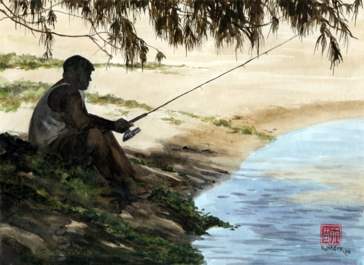 In The Shade, Noho 'ana — Kauai life - fishing, fisherman, aliomanu, anahola, beach, ocean artwork by Emily Miller