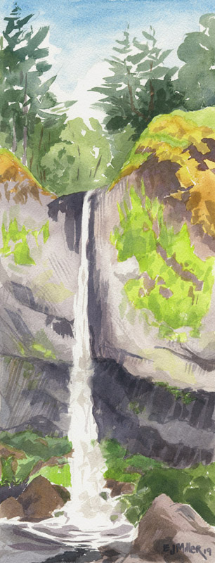 Latourell Falls, Countryside - waterfall, columbia river gorge, LPG Oregon 2019 artwork by Emily Miller