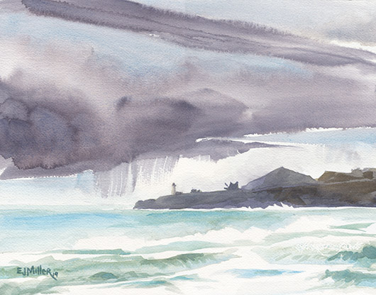 Yaquina Head from Nye Beach, Oregon Coast - LPG Oregon 2019 artwork by Emily Miller