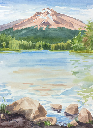 Mt Hood Summer Glow from Trillium Lake, Countryside - LPG Oregon 2019 artwork by Emily Miller