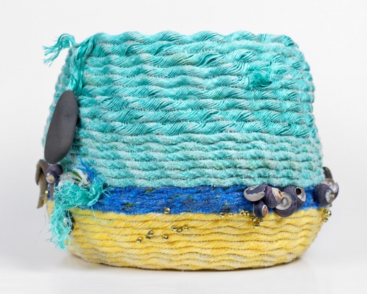 Wrackline Basket - Summer Beach, Ghost Net Baskets -  artwork by Emily Miller