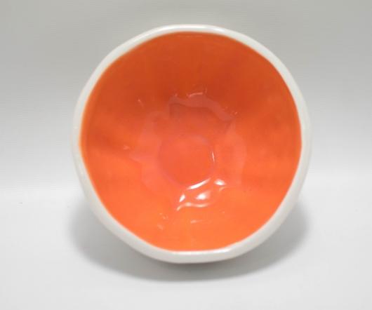 Urchin Rice Bowl - White & Orange, Urchin Bowls -  artwork by Emily Miller