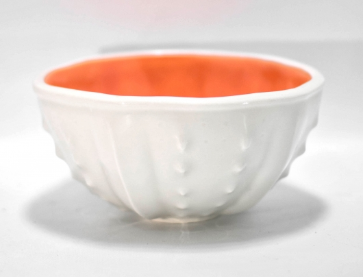 Urchin Rice Bowl - White & Orange, 2019