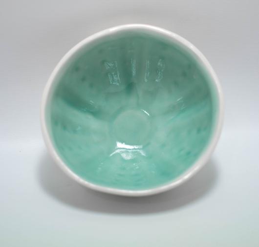 Urchin Rice Bowl - White & Aqua, Urchin Bowls -  artwork by Emily Miller