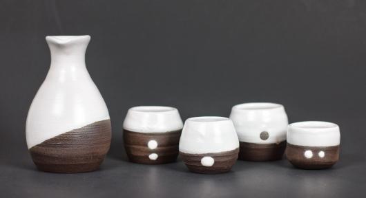Black and White Sake Set, Ceramics -  artwork by Emily Miller