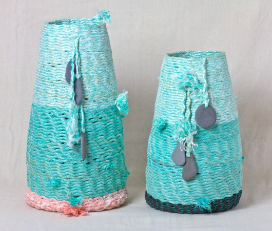 Tall Pods, Ghost Net Baskets -  artwork by Emily Miller